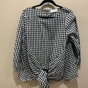 Gingham Black and White Top Size Large